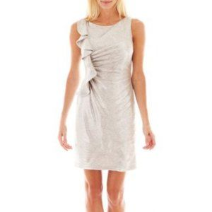SIMPLY LILIANA Silver Ruffle Cocktail Party Dress